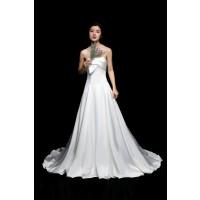 ウェディングドレス 二次会ドレス 花嫁ドレス 結婚式ドレス ウエディングカラードレス  演奏会ドレス サテン ロングトレイン W6116