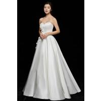 ウェディングドレス 二次会ドレス 花嫁ドレス ウエディングカラードレス サテン Aライン W6120