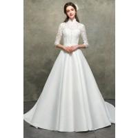 ウェディングドレス 二次会ドレス 花嫁ドレス 袖あり レース Aライン サテン W1558