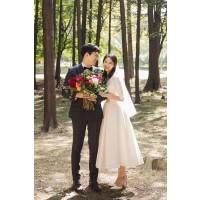 ウェディングドレス 二次会ドレス 花嫁ドレス 結婚式ドレス ミモレ丈 ショート サテン 袖あり W1553