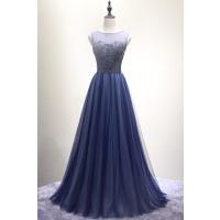 演奏会ドレスやステージドレスに人気 ロングドレスAライン_チュール_ダークブルー C5112
