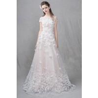 ウェディングドレス 二次会ドレス 花嫁ドレス Aライン スレンダー チュール W1434