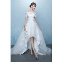 ウェディングドレス 二次会ドレス 花嫁ドレス オフショルダー ショート ロングトレイン W1435