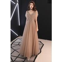 演奏会ドレスやステージドレスに人気 ロングドレスAライン_チュール_ブラウン C5120