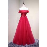 演奏会ドレスやステージドレスに人気 ロングドレスAライン_チュール_オフショルダー C5106