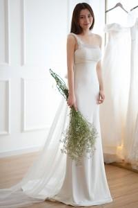 ウェディングドレス 二次会ドレス カラードレス シフォン チュール スレンダー W6117