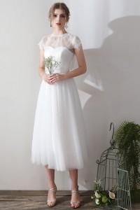 ウェディングドレス 二次会ドレス 花嫁ドレス 結婚式ドレス パーティードレス 演奏会ドレス ミモレ丈 ショート セパレート W1567