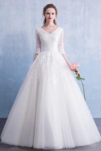 ウェディングドレス 二次会ドレス 花嫁ドレス 袖あり チュール プリンセス Aライン W1550