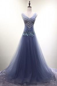 演奏会ドレスやステージドレスに人気 ロングドレスAライン_チュール C5103
