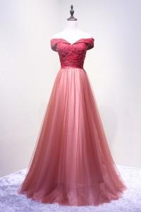 演奏会ドレスやステージドレスに人気 ロングドレスAライン_チュール_オフショルダー C5105
