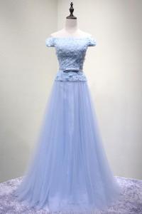 演奏会ドレスやステージドレスに人気 ロングドレスAライン_水色_チュール_オフショルダー C5115