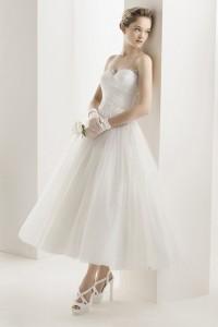 ウェディングドレス 二次会ドレス 花嫁ドレス ミモレ丈 ショート チュール W1426