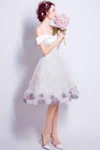 ウェディングドレス_二次会ドレス 花嫁ドレス_ショート_ミニ W1431