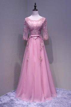 演奏会ドレスやステージドレスに人気 ロングドレス_Aライン_ピンク_チュール_袖あり C5110