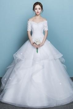 ウェディングドレス 二次会ドレス 花嫁ドレス オフショルダー  プリンセス レース W1442