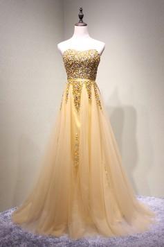 演奏会ドレスやステージドレスに人気 ロングドレスAライン_チュール_ゴールデン C5114