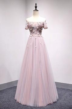 演奏会ドレスやステージドレスに人気 ロングドレスAライン_チュール_オフショルダー C5116