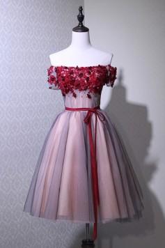 演奏会ドレスやステージドレスに人気 ロングドレス_チュール_オフショルダー_ショート_ミニ C5119