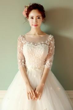 ウェディングドレス 二次会ドレス 結婚式ドレス 袖あり チュール W1415