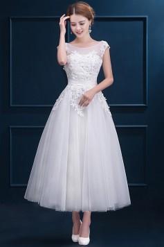 ウェディングドレス 二次会ドレス 花嫁ドレス ミモレ丈 ショート レース チュール W1424