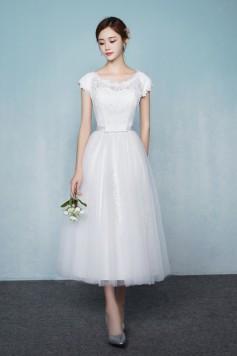ウェディングドレス 二次会ドレス 花嫁ドレス ミモレ丈 ショート チュール レース W1427