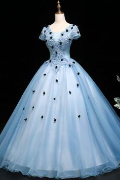 ウエディングカラードレス_演奏会ドレスやステージドレスに人気 ロングドレスAライン_チュール_ブルー C5127